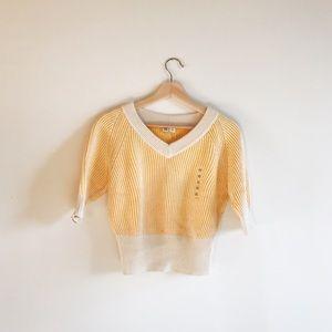 Uniqlo U Yellow and White Knit Sweater